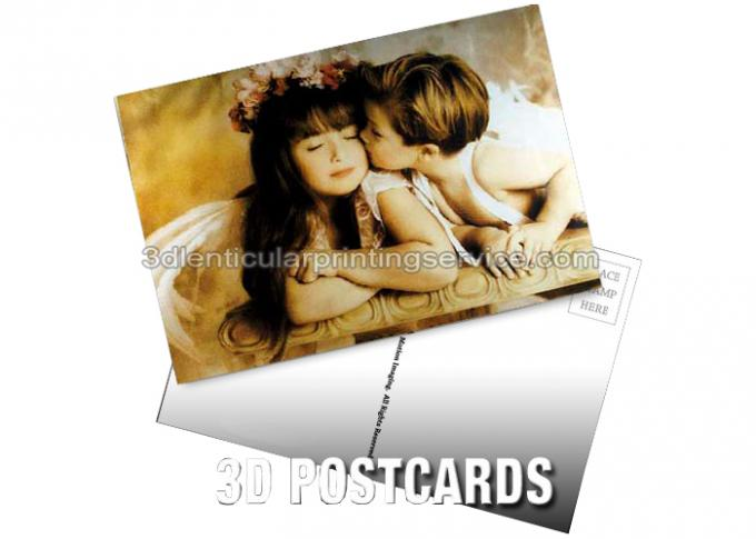 Pantone Color Printing PET 3D Lenticular Postcard / 3D Changing Pictures For Kids