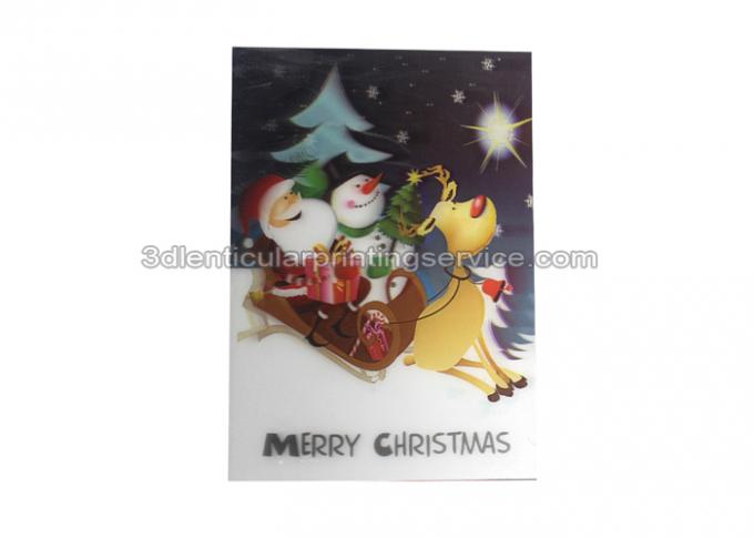 Merry Christmas Custom Lenticular Printing Greeting Card With Santa Claus 3D Effect