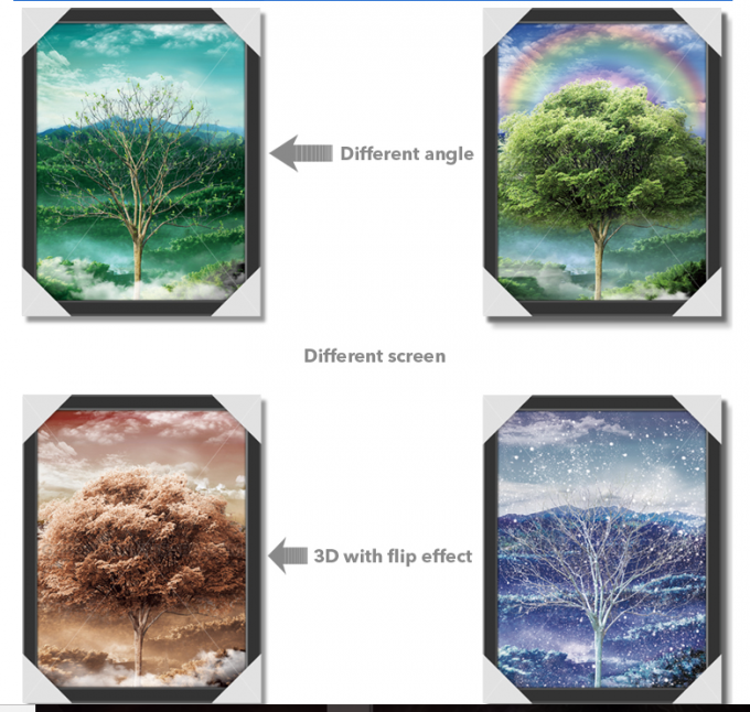 30x40cm Beautiful Four Season Trees Lenticular Flip With 0.6mm PET For Home Decoration