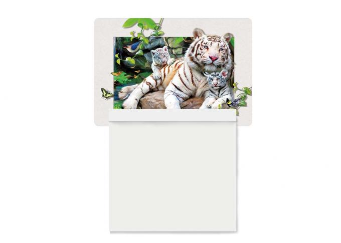 5D Attractive White Tiger Decorative Refrigerator Magnets 0.6mm PET + 200g Coated Paper