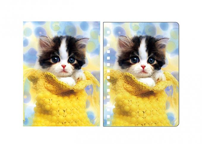 Pretty Dogs And Cats 3D Lenticular Spiral Animal Notebook Covers With  A4,A5,A6 Size
