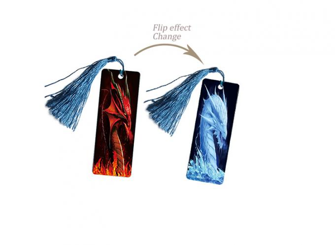 CMYK 4 Colors Printing 3D Lenticular Bookmark Flip Effect Changing Images