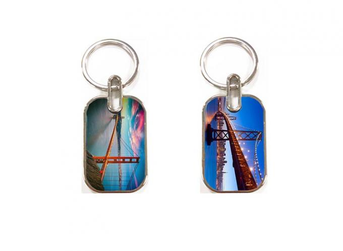 Zinc Alloy 3D Acrylic Keychains / Key Rings With OEM Paper Card Bag
