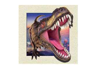 China Dinosaur Image 0.6mm PET 3d Lenticular Pictures For Decoration 40x40cm supplier