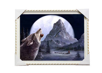 China CMYK 3D Wolves Image Lenticular 3d Pictures PS Frame For Office Decoration supplier