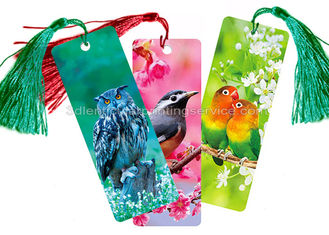 China Custom 0.6 mm PET 3D Lenticular Bookmark With Two Sides CMYK Printing supplier