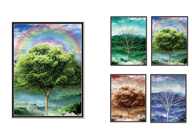 China 30x40cm Beautiful Four Season Trees Lenticular Flip With 0.6mm PET For Home Decoration supplier