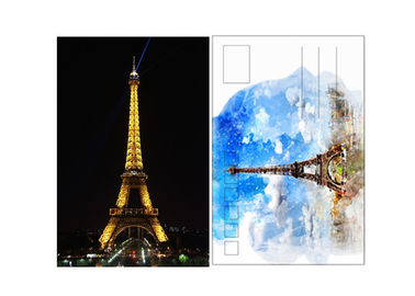 China 11x16cm Paris Eiffel Tower Day - Night 3D Lenticular Postcard With CMYK Printing supplier