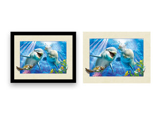 China Home Decoration 3D Lenticular Printing Service 12x16 Inch Framed Dolphin Picture Wall Arts supplier