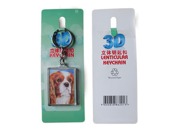 China Zinc Alloy 3D Acrylic Keychains / Key Rings With OEM Paper Card Bag supplier