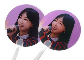 China Personalized 3D Lenticular Clear Transparent Paper Hand Fan With Plastic Handle supplier