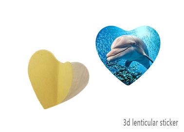 China Heart - Shaped Adhesive 3D Lenticular Stickers With Sea Animal Design supplier