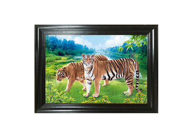 China Tigers 3D Lenticular Printing / MDF Or PS Frame 3D Animals Images supplier