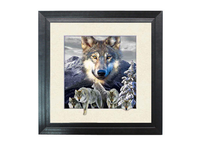 5d effect wolf 3d lenticular photo printing for house decoration mdf frame - Wolf Picture Frames