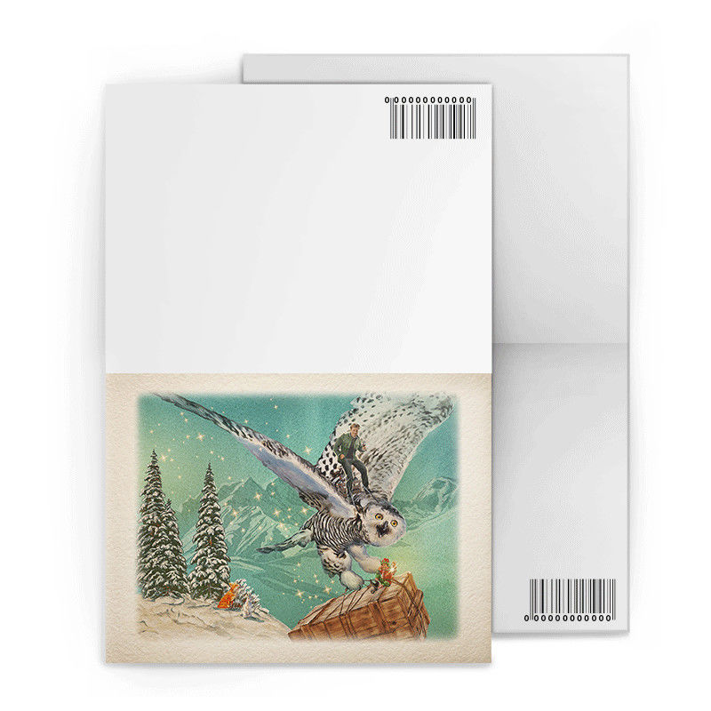 Christmas Design Lenticular Gift Cards 3D Effect Customised 12x17cm Fold