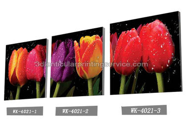 China Decoration Flower Pictures Custom Lenticular Printing Frameless PET Printing factory