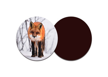 Red Fox Custom Printed Coasters With 8 X 8cm Round Shape / Lenticular 3d Pictures